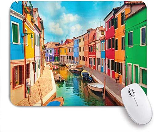 Bunte Gebäude Von Venedig Und Wasserkanal Mit Booten Burano Island In Der Lagune Von Venedig Mausmatte,Mausunterlage,Gummiunterseite Maus Pad,Schreibtischunterlage