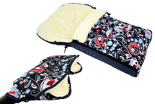 BAMBINIWELT combi-aanbieding muff/handwarmer + universele wintervoetenzak (108 cm), ook geschikt voor babyschaal, kinderwagen, buggy, van wol in uildesign (motief $9)