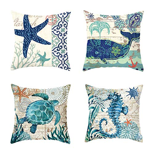 4 Pieces Sea Pillow Cover Seahorse Whale Starfish Turtle Blue Ocean Square Throw Pillow Case Sofa Bed Couch Throw Cushion Cover Decoration (18' x 18')