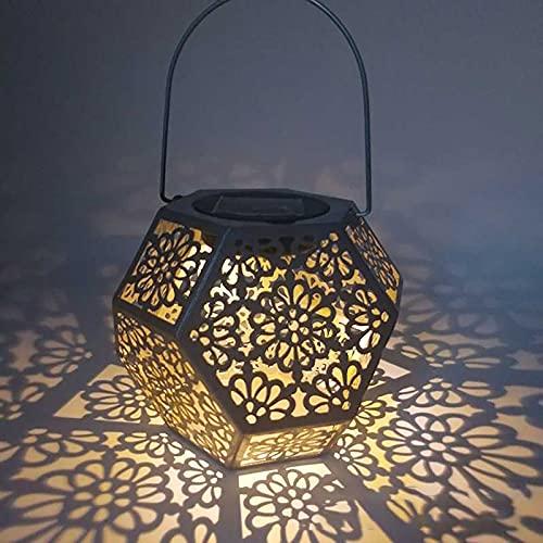 Linterna solar, impermeable al aire libre, luz solar LED para jardín, decoración de jardín, patio, patio y mesa