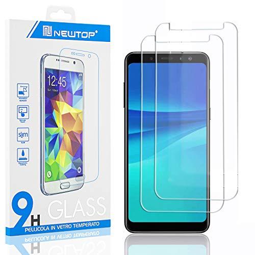 N NEWTOP [2 Pezzi] Pellicola GLASS FILM Compatibile per Samsung Galaxy A8 2018, Fina 0.3mm Durezza 9H in Vetro Temperato Proteggi Schermo Display Protettiva Anti Urto Graffio Protezione