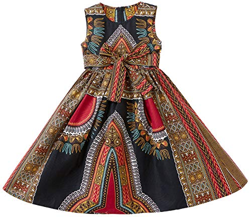 Shenbolen Girls Dashiki Print Dress African Tradition Dresses(A,Small)