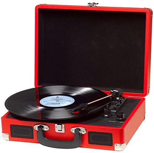 Tocadiscos Denver VPL-120 RED, Reproducción a 3 Velocidades, Diseño Maleta, 2 Altavoces Estéreo, Función Grabación, Incluye Autostop, Color Rojo