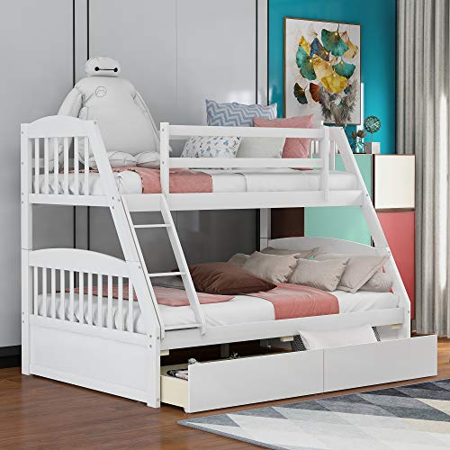Merax Solid Wood Twin Over Full Bunk Bed with Two Storage Drawer, Removable Ladder and Safety Guardrail for Kids, Teens, Adults, Convertible to 2 Separated beds (White)