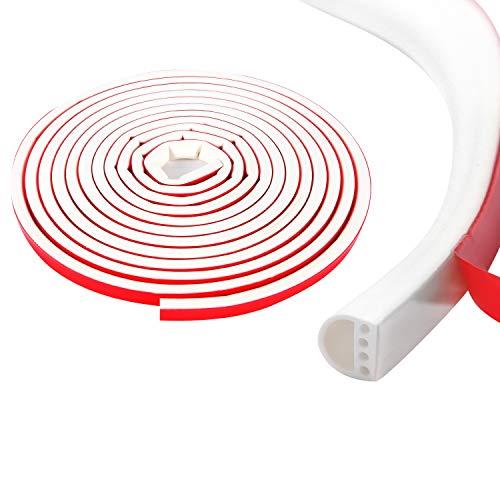 Qishare Tira de Silicona Tira de Sellado de Diseño de Múltiples Orificios Para Puertas y Ventanas, Anticolisión, Insonorizada, Impermeable, a Prueba De Polvo, a Prueba De Viento, 6M(D9*6mmx1, Blanco)