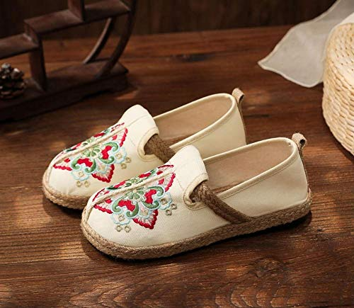 GaYouny Zapatos Bordados Mujeres Bordadas Lienzo resbalón en Mocasines Damas cómodas Zapatos Planos Casuales Retro Tejido Suela afilbios (Color : Beige, Size : 37 EU)