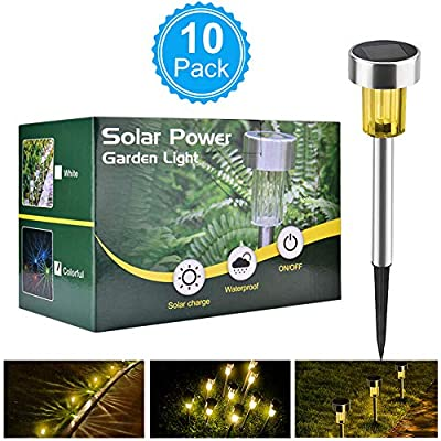 BASEIN Solar Garden Lights, Solar Lights Outdoor Pathway - Stainless Steel Landscape LED Lights Patio, Lawn, Yard, Walkway (10 Pack)