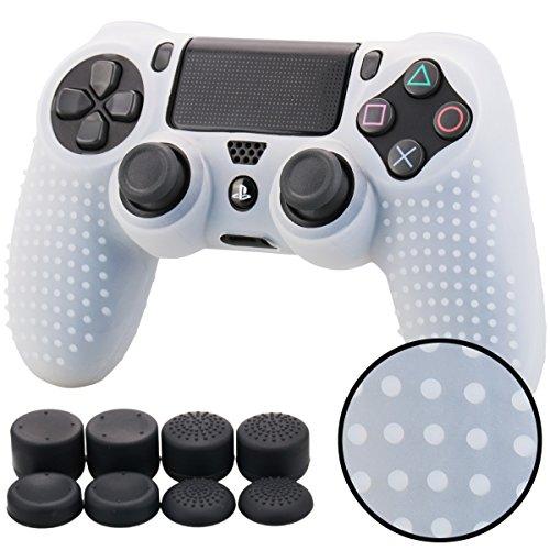 Pandaren BORCHIE silicone custodie cover pelle antiscivolo per PS4 controller x 1 (bianco chiaro) + FPS PRO thumb grips pollice prese x 8