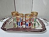 Pack juego para el te marroqui de 4 vasos de cristal marroqui y 1 bandeja de 40cm con asa arabe con gragados