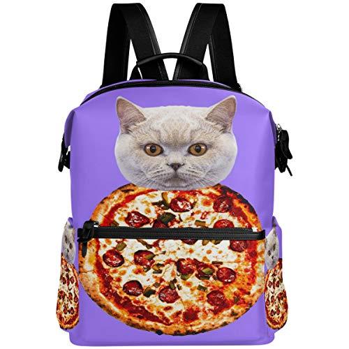 Oarencol Pizza Cat divertido animal púrpura mochila escolar bolsa de viaje senderismo camping portátil Daypack