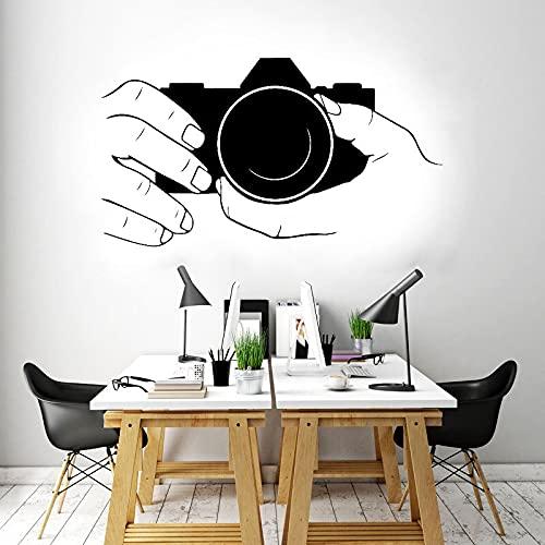 Fotógrafo manos cámara digital instantánea disparar tomar foto etiqueta de la pared vinilo calcomanía dormitorio sala de estar estudio fotográfico club oficina decoración del hogar mural