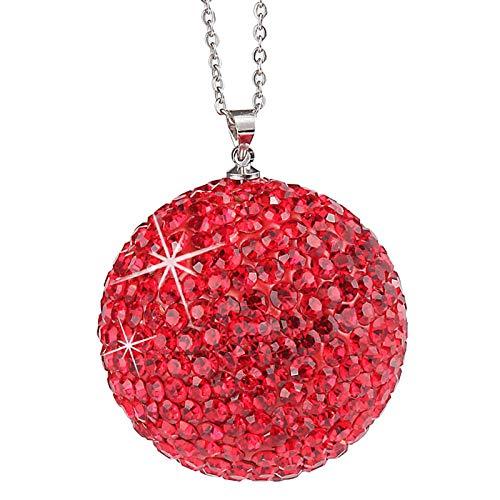 balikha Colgante Del Coche de Los Encantos de Los Coches de La Bola de Cristal Del Diamante para El Espejo Retrovisor Del Ornamento - rojo
