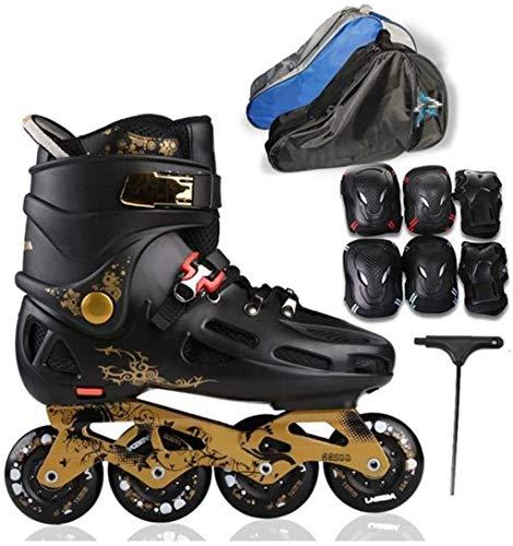 Professionelle Rollschuhe Komplettset Inline-Skates für Erwachsene Eisschnelllaufschuhe Anfänger im Freien Sport für Herren und Damen Rollerblades, Schwarz + T, 39 EU / 7 US / 6 UK / 24,5 cm JP