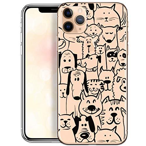OOH!COLOR Carcasa para Móvil Compatible con Funda iPhone 11 Pro MAX Ultra Slim Transparente Silicona Suave Bumper Teléfono Caso para iPhone 11 Pro MAX con Dibujo Animales(DESECHABLE)