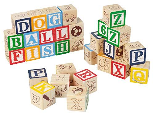 Invero - Juego de 30 Piezas de Bloques de construcción de Letras de Madera, números e imágenes para Aprender a divertirse, Bloques de Alfabeto