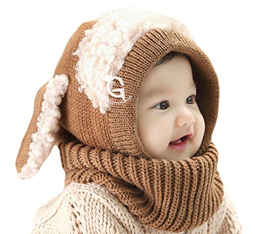 PETREL Baby Girls Boys Winter Hat Scarf Earflap Hood Scarves Skull Caps Brown