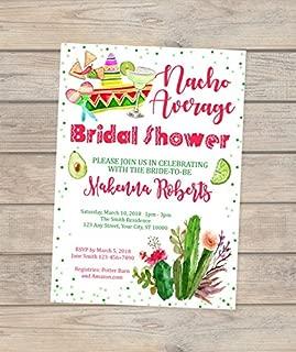 Nacho Average Bridal Shower Invitations, Fiesta Bridal Shower Invitations, Mexican Theme Bridal Shower Invitations, Mexican Hat, Margarita Bridal Shower Invites