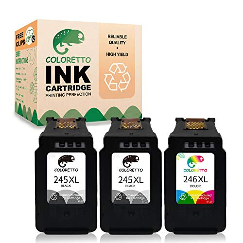 Coloretto Remanufactured Printer Ink Cartridge Replacement for Canon PG-245XL CL-246XL 245 245XL 246 XL PG-243 243 CL-244,for PIXMA MX492 MX490 IP2820 mg2522 mg2520 TS3122 (2 Black+1 Color)