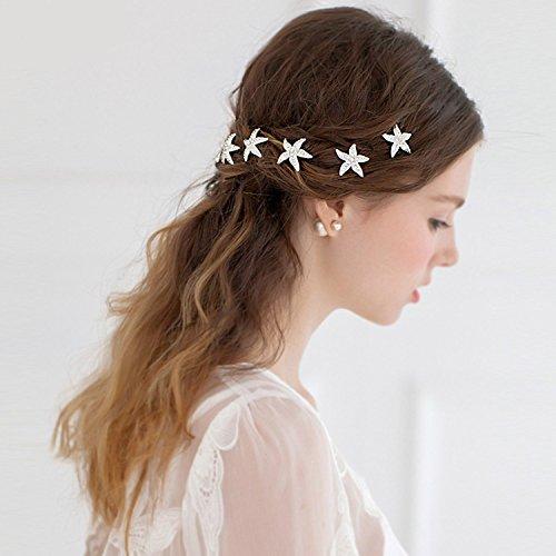 Haarnadeln Seestern, Czemo 6er Set Haarspange Süße Stern mit Perlen Strass Haarklammer Haarspiralen Braut Hochzeit Haarschmuck