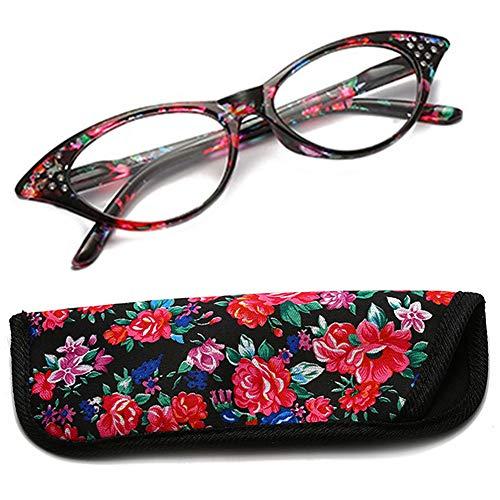 YUNCAT Lesebrille Damen Herren Modern Federscharnier Blumen Lesehilfe Sehhilfe Brille Leicht Vintage mit Brillentasche von 1.0 1.5 2.0 2.5 3.0 3.5 4.0