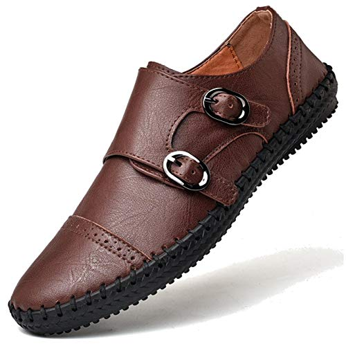 Men`s Monk-Strap Loafer Leather Causal Slip on Dress Shoes Lightweight Breathable Shoes