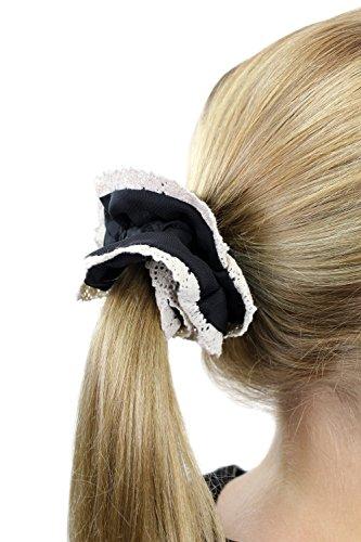 Chouchou élastique en accordéon, style femme de chambre / femme de ménage / Lolita gothique, couleur noire aux bordures blanches. Z012