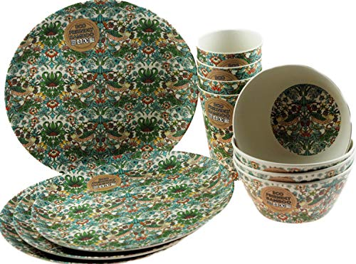 LP 12 Piece William Morris Strawberry Thief Bamboo Eco Friendly Complete Plate Bowl Cup Set