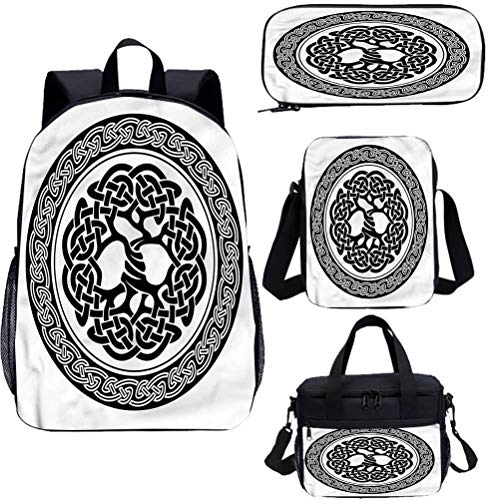 Celtic 15' Backpack with Lunch Bag,Pencil Case Set,Native Tree of Life Art Bookbags 4 in 1