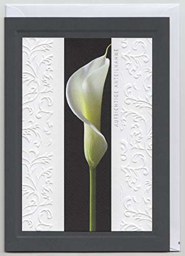 Din A5 große Trauerkarte Aufrichtige Anteilnahme Calla mit Reliefprägung
