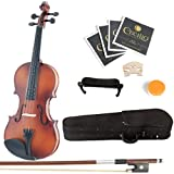 Mendini 4/4 MV300 Solid Wood Satin Antique Violin with Hard Case, Shoulder Rest
