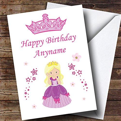 Blonde prinses bloemen sterren gepersonaliseerd kind verjaardagskaart