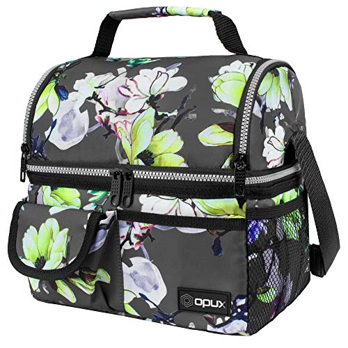 OPUX Insulated Dual Compartment Lunch Bag for Men, Women | Double Deck Reusable Lunch Pail Cooler Bag with Shoulder Strap, Soft Leakproof Liner | Large Lunch Box Tote for Work, School (Floral Grey)