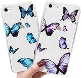 LAPOPNUT Coque pour iPhone 7/8/SE 2020 [2 Pièces] Housse Étui Transparente Papillon Coque de...