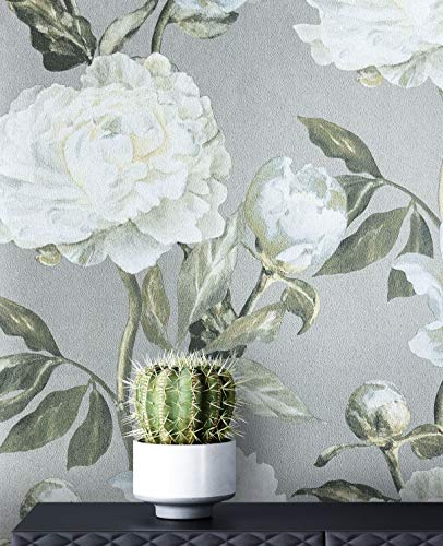 NEWROOM Tapete Vintage Rosen weiß Vliestapete Vlies moderne Mustertapete Tapete Blumentapete Wallpaper Floral inkl. Tapezier Ratgeber