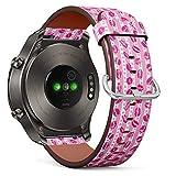 Compatible con Huawei Watch 2 Classic – Correa de Reloj de Cuero con pasadores de liberación rápida (Estilo Xoxo Kisses Brush Grunge)