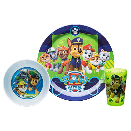 Zak Designs Kids Dinnerware Sets, 3 Piece, Paw Patrol Boy