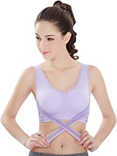 Sports Bras for Women Front Cross Side Buckle Lace Wireless Bra Push Up Seamless Bra Yoga Running Bra with Removable Pad