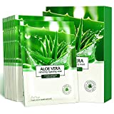 Aloe Facial Skincare Sheet Hydrating Moisturizing Revitalizing Facial Skincare Sheet for Dry, Oily, Sensitive and Tired Skin 25ml/0.8oz, Pack of 10