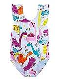 ALISISTER Toddler Girl Swimsuit Cute Dinosaur 3T Little Kids Bathing Suit One Piece Hawaiian Ruffle Swimwear Backless Cartoon Tankini Summer Tropical Petite Beach Monokini Purple