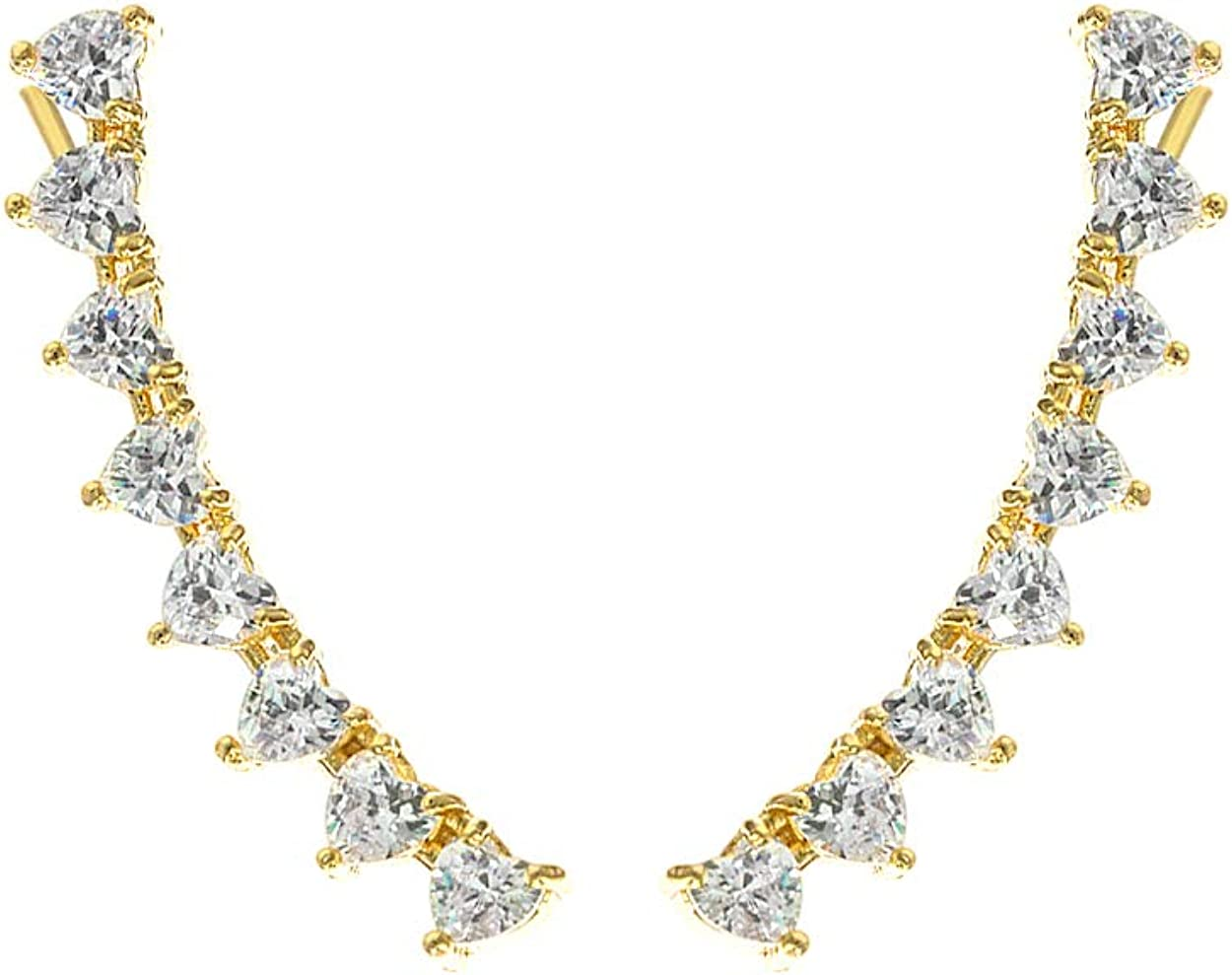 Azure NYC 14K Gold Plated Heart Shaped Cubic Zirconia Ear Crawler - Cuff Earrings Hypoallergenic Stud Ear Climber Jackets