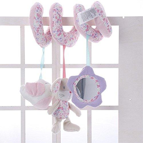 oamore Baby Stroller Toy Crib Design Spiral Activity Hanging Toys Plush Toys Stroller Mobile Car Seat Pram Toy (Pink Rabbit)