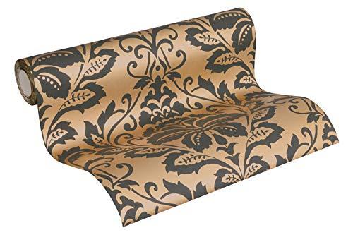 Barock Tapete Vliestapete Ornamente neo barock rokoko bronze beige schwarz 10,05m x 0,53m BEAUTIFUL WALLS 369104