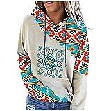 Kawaii Hooie - Sudadera con capucha azteca con estampado geométrico, manga larga, diseño de bloque de color occidental con bolsillos, rosso, M