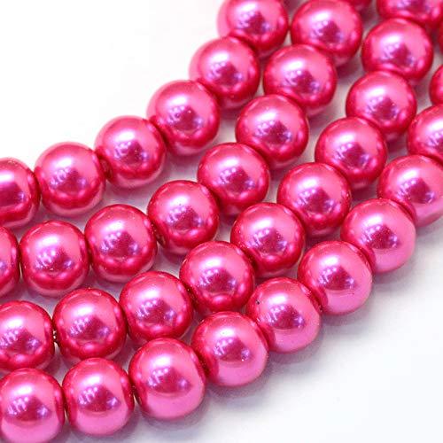 Cheriswelry 200 cuentas de perlas de cristal de 8 mm, espaciadores redondos nacarados, pintados con brillo satinado y perlas de cristal para joyería, pulseras, pendientes, magenta