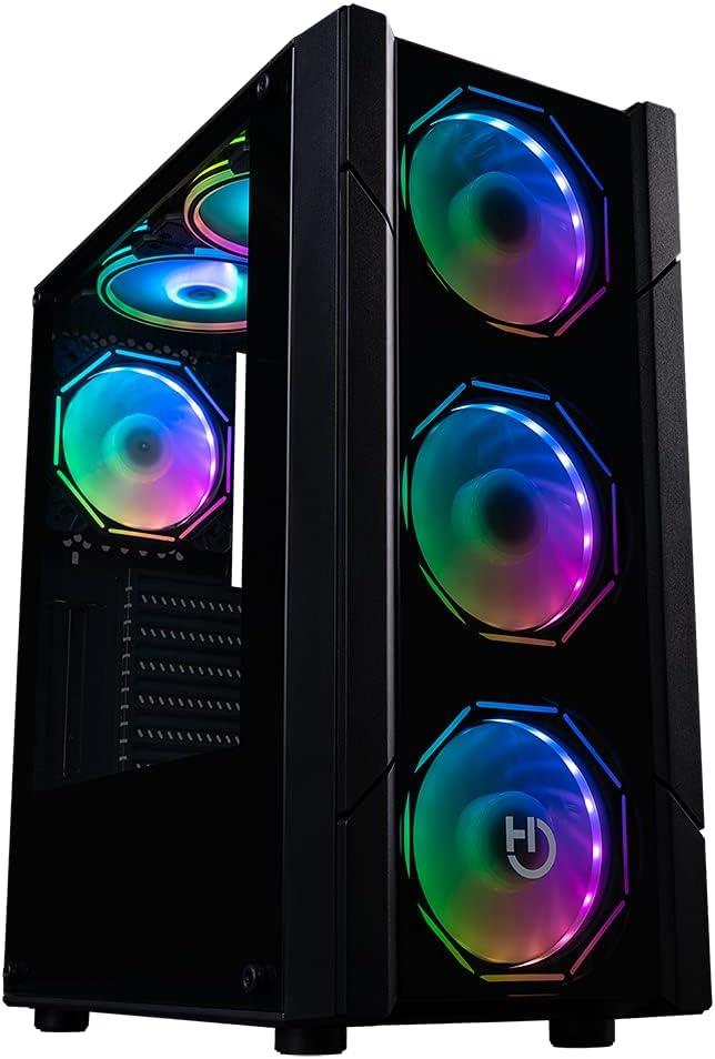 Hiditec Chasis Gaming V30 ARGB Torre PC Gaming Formato ATX y Micro ATX Ventana Lateral y Frontal de Cristal Templado Incluye Controladora Incluye 4 Ventiladores hexagonales