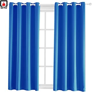 BEGOODTEX Flame Retardant Fire Resistant Curtains Blackout Curtain, Royal Blue, 52W by 95L inch, 8 Grommet, 1 Panel