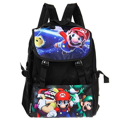 ASLNSONG Anime Backpack Super Mario Cartoon 18.8L School Bag Rucksack for Teens (A)