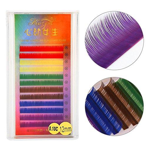 3 Types Rainbow Coloré Faux Cils Extension Gradient Couleur Faux Cils Eye Individuel(12mm)