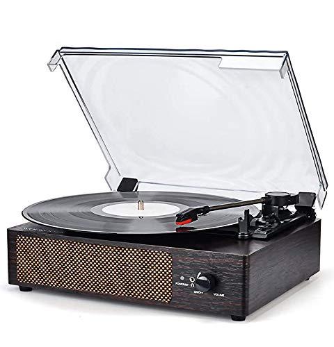 Plattenspieler mit Lautsprecher Bluetooth Plattenspieler Retro Schallplattenspieler mit Lautsprecher Drahtloser tragbaren 3-Gang 33/45/78 U/min und Eingebauter 2 Stereo Lautsprechern Aux in RCA