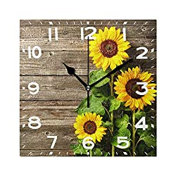 Naanle Stylish 3D Beautiful Sunflowers Vintage Wood Print Square Wall Clock, 8 Inch Battery Operated Quartz Analog Quiet Desk Clock for Home,Office,School